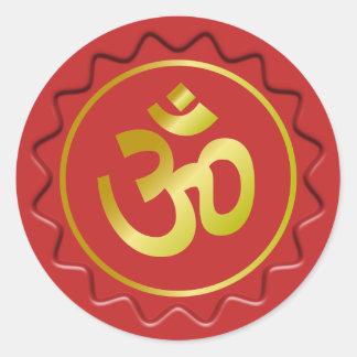 Golden Om Sign Red Wax Seal Round Sticker