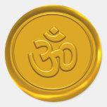 Golden Om Wax Seal Round Stickers
