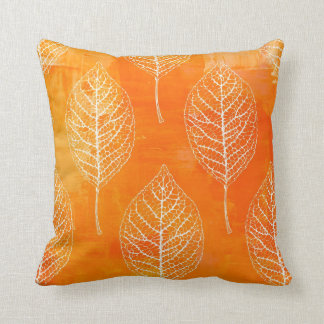 Golden Orange Leaf Pattern Pillow Cushions