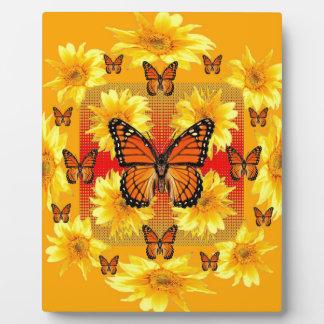 GOLDEN ORANGE MONARCH BUTTERFLIES & SUN FLOWERS PLAQUE