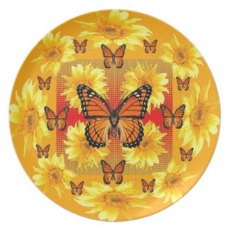GOLDEN ORANGE MONARCH BUTTERFLIES & SUN FLOWERS PLATE