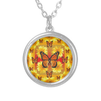 GOLDEN ORANGE MONARCH BUTTERFLIES & SUN FLOWERS SILVER PLATED NECKLACE