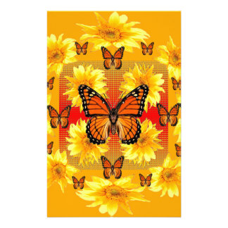 GOLDEN ORANGE MONARCH BUTTERFLIES & SUN FLOWERS STATIONERY