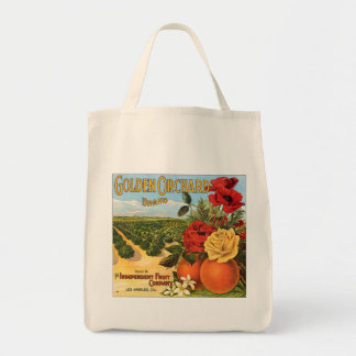 Golden Orchard Los Angeles Fruit Crate Label Grocery Tote Bag