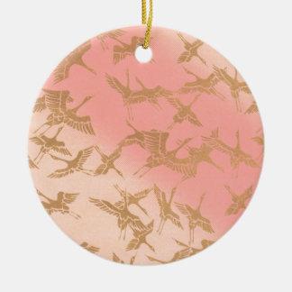 Golden Origami Crane Ceramic Ornament