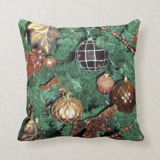 Golden  Ornament Happy Holiday Christmas Throw Pillow