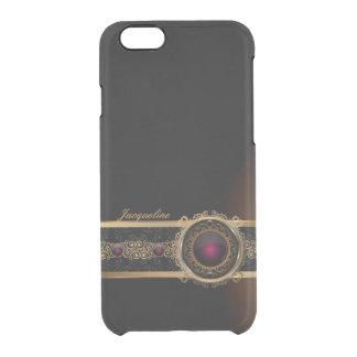 Golden Ornament Luxury  Purple Diamond Eye Name Clear iPhone 6/6S Case