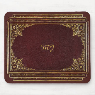 Golden Ornamental on Brown with Initials Mouse Pad