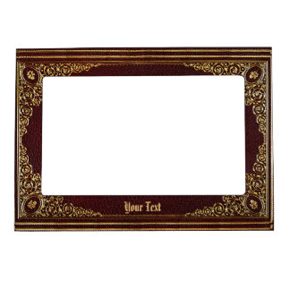 Golden Ornamental on Brown with (or without) Text Magnetic Frame