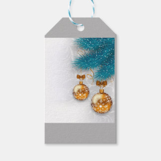 Golden ornaments gift tags