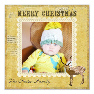 Golden Ornate Buck Christmas Photo Card 13 Cm X 13 Cm Square Invitation Card