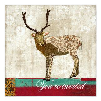 "Golden Ornate Deer Teal, Red, & White Invitation 5.25"" Square Invitation Card"