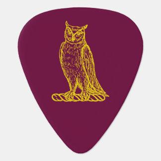 Golden Owl Crest Letterpress Style Guitar Pick