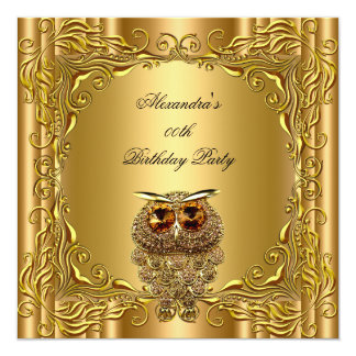 Golden Owl Elite Elegant Gold Birthday Party 2 Card