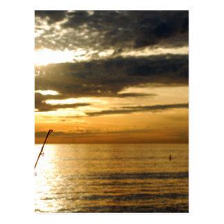 golden pacific sunset postcard