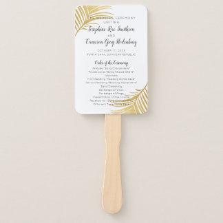 Golden Palm Beach Destination Wedding Program Fan