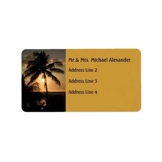 Golden Palm Tree Sunset Address Label