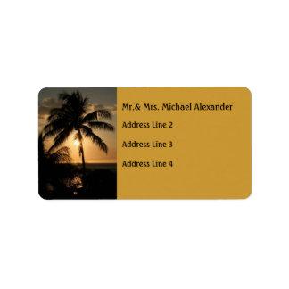 Golden Palm Tree Sunset Label