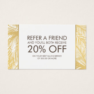 Golden Palms Spray Tanning Logo White Referral Business Card