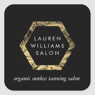 Golden Palms Spray Tanning Salon Logo on Black Square Sticker
