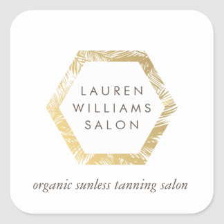Golden Palms Spray Tanning Salon Logo on White Square Sticker