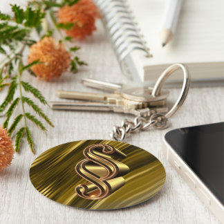 Golden paragraph symbol key ring