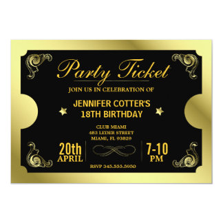 Golden Party Ticket Card