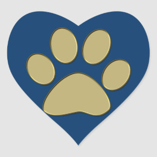 golden paw heart sticker