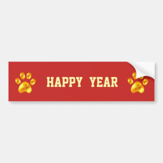 Golden Paws Happy Year Bumper Sticker