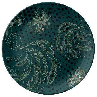 Golden peacock and butterfly on turquoise back porcelain plates