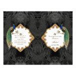 Golden Peacock & Calligraphy Swirl Wedding Program 21.5 Cm X 28 Cm Flyer