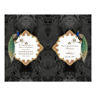 Golden Peacock & Calligraphy Swirl Wedding Program Flyer
