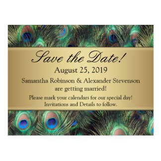 Golden Peacock Feather Background Save the Date Postcard