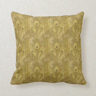 Golden Peacock feather pattern American MoJo Pillo Cushion