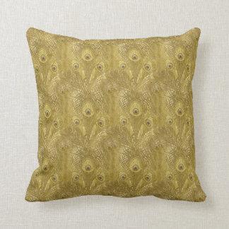 Golden Peacock feather pattern American MoJo Pillo Throw Pillow