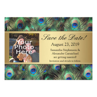 Golden Peacock Feather Photo Save the Date Custom Invitation