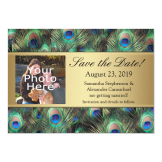 Golden Peacock Feather Photo Save the Date 13 Cm X 18 Cm Invitation Card