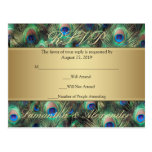 Golden Peacock Feather RSVP Reply Post Card