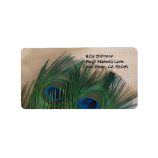 Golden Peacock Feathers Address Labels