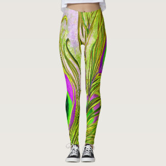 Golden Peacock Feathers Leggings
