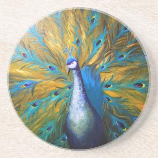 Golden Peacock ! (Kimberly Turnbull Art - Acrylic) Coaster