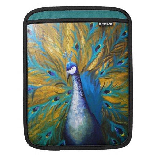 Golden Peacock ! (Kimberly Turnbull Art - Acrylic) Sleeve For iPads