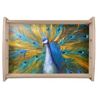 Golden Peacock ! (Kimberly Turnbull Art - Acrylic) Serving Tray