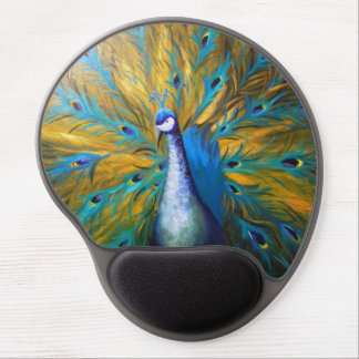 Golden Peacock (Kimberly Turnbull Art) Gel Mouse Pad