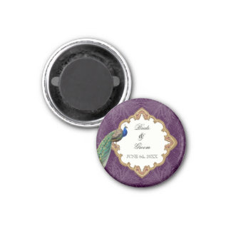 Golden Peacock & Swirls - Wedding Save the Date 3 Cm Round Magnet