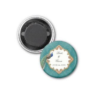 Golden Peacock & Swirls - Wedding Save the Date 3 Cm Round Magnet