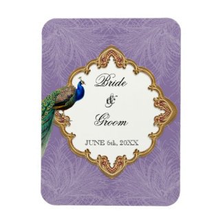 Golden Peacock & Swirls - Wedding Save the Date Rectangular Photo Magnet