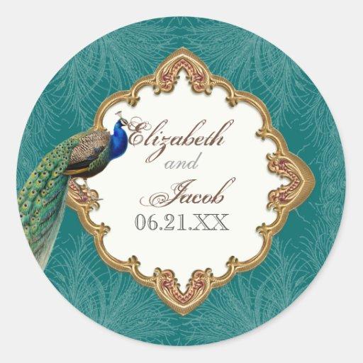 Golden Peacock & Swirls - Wedding Sticker or Seal