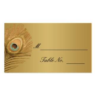 Golden Peacock Wedding Place Card Pack Of Standard Business Cards