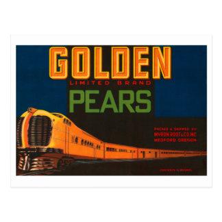 Golden Pears Vintage Fruit Crate Label Postcard